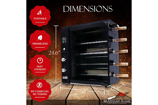 Brazilian Flame Brazilian Gas Rotisserie Grill with 5 Skewers and Upper Tray, Black, large