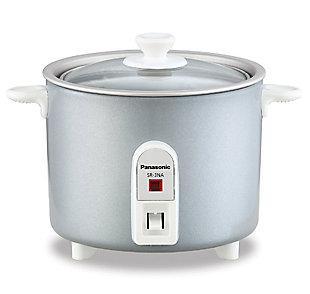 Panasonic 1.5-cup Mini Rice Cooker with Glass Lid, Silver, , large
