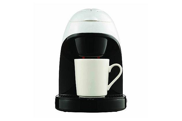 Brentwood Single Serve Coffee Maker with Ceramic Mug, Black/White, large