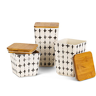 The Gerson Company Black and White Bamboo Fiber Nesting Containers with Wooden Lids (Set of 3), , large