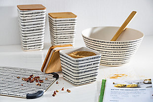 The Gerson Company Of Three Black And White Nesting Bamboo Fiber Bowls With Airtight Lids, , rollover