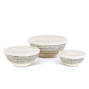 The Gerson Company Of Three Black And White Nesting Bamboo Fiber Bowls With Airtight Lids, , large