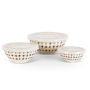 The Gerson Company Black And White Nesting Bamboo Fiber Bowls With Airtight Lids (set Of 3), , large