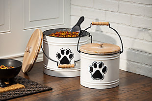 The Gerson Company Metal Pet Storage Buckets with Wooden Lids and Handles (Set of 2), , rollover