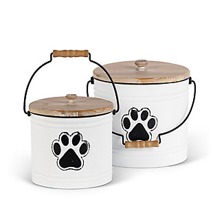The Gerson Company Metal Pet Storage Buckets with Wooden Lids and Handles (Set of 2), , large
