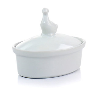 Martha Stewart Martha Stewart 5.7 Inch Oval Ceramic Goose Container with Lid in White, , large