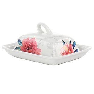 Martha Stewart Martha Stewart Fine Ceramic 7.5 Inch Butter Dish with Lid in Floral Designs, , large