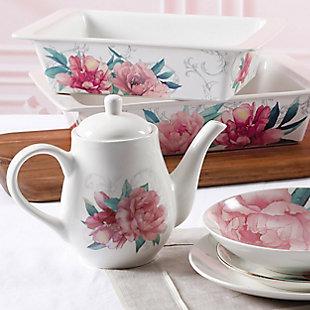Martha Stewart Martha Stewart 1.4 Quart Floral Ceramic Tea Pot in White, , rollover