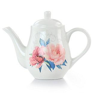 Martha Stewart Martha Stewart 1.4 Quart Floral Ceramic Tea Pot in White, , large