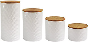 Style Setter American Atelier Diamond Embossed Canister, Set of 4, White, large