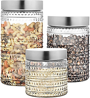 Style Setter Round Canister Glass Jars,  Set of 3, , rollover