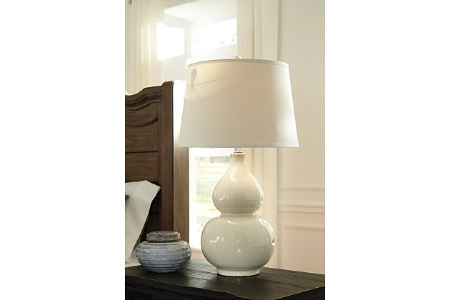 White Ceramic Table Lamp With Cream Shade And Gourd Shaped Body