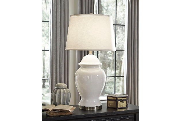 Darena Table Lamp by Ashley HomeStore, White