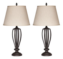 Bronze Finish Set of two silver metal lamps