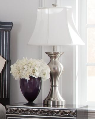 Ashley Rishona Table Lamp (Set of 2), Brushed Silver Finish