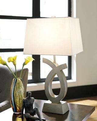 Image of Amayeta Table Lamp (Set of 2), Silver Finish