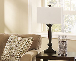 set of two brown lamps