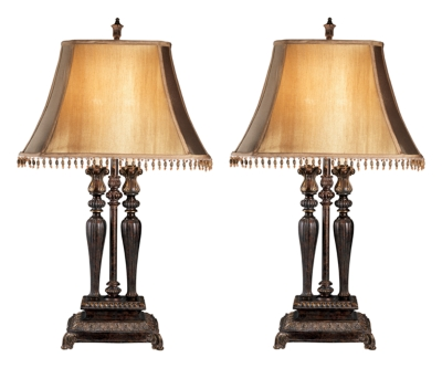 Ashley Desana Table Lamp (Set of 2), Dark Brown/Gold Finish