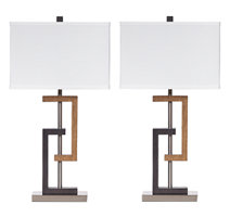 Brown/Silver Finish Set of two lamps