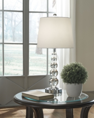 Ashley Joaquin Table Lamp (Set of 2), Clear/Silver Finish