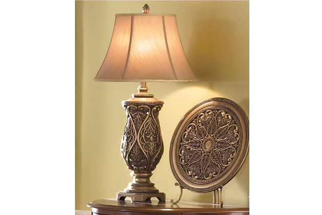 Katarina Table Lamp (Set of 2) by Ashley HomeStore, Brass Finish