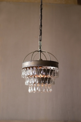 Image of Pendant Lamp with Layered Shade And Hanging Gems, Multi
