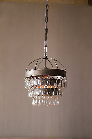 Pendant Lamp with Layered Shade And Hanging Gems, , large