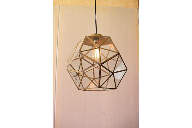 Glass Metal Faceted Pendant, , large