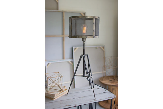 Industrial Table Lamp with Wire Mesh Shade, , large