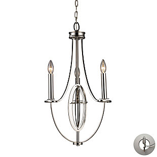Dione Chandelier in Polished Nickel Finish with Adaptor Kit, , rollover