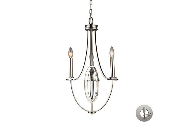 Dione Chandelier in Polished Nickel Finish with Adaptor Kit, , large
