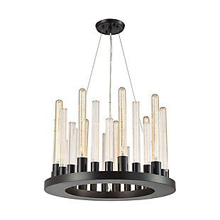 Glass Skyline Nine Light Chandelier in Oil Rubbed Bronze Finish, , rollover