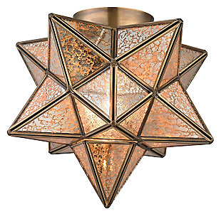 Moravian Star Flush Mount in Gold Finish, , large