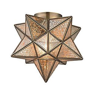 Moravian Star Flush Mount in Gold Finish, , rollover