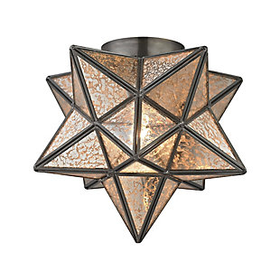 Moravian Star Flush Mount in Bronze Finish, , rollover