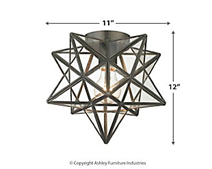 Moravian Star Flush Mount in Bronze Finish With Clear Glass, , large