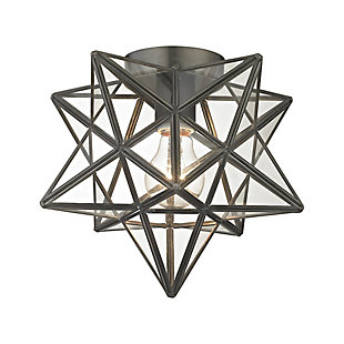 Moravian Star Flush Mount in Bronze Finish With Clear Glass, , rollover