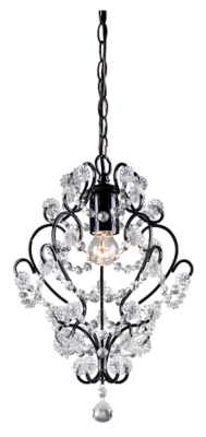 Image of Clear Crystal Mini Pendant Lamp with Black Finish, Black