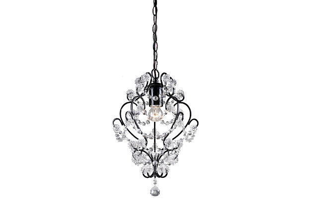 Clear Crystal Mini Pendant Lamp with Black Finish, , large