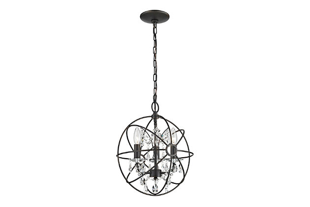 Clear Crystal Globe Pendant Light, , large