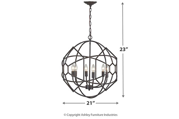 Rustic Iron Orb Chandelier With Honeycomb Metal Work, , large