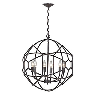 Rustic Iron Orb Chandelier With Honeycomb Metal Work, , rollover
