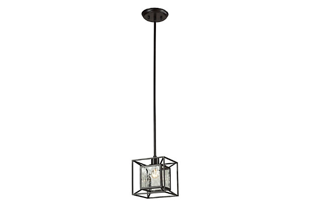 Bronze Finish Pendant with Clear Water Glass Panels, , large