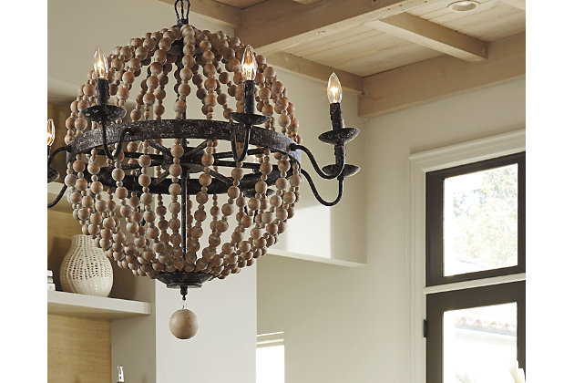 natural home accents wooden beaded chandelier view 3 - Wood Bead Chandelier