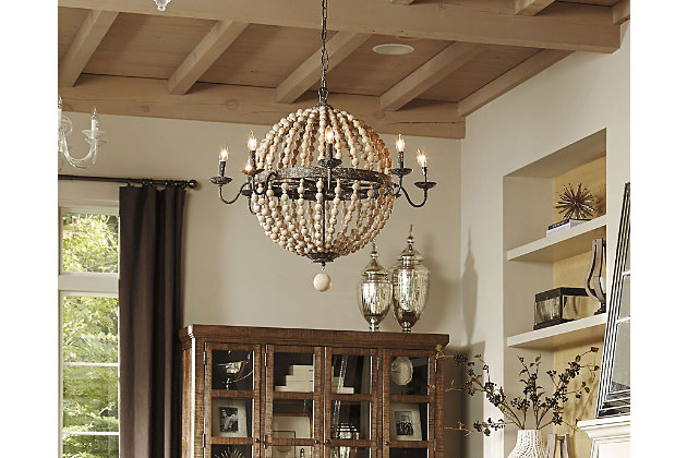 natural home accents wooden beaded chandelier view 1 - Wood Bead Chandelier