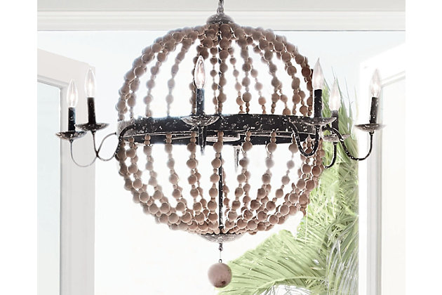 natural home accents wooden beaded chandelier view 6 - Wood Bead Chandelier