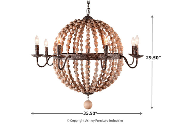Home Accents Wooden Beaded Chandelier, , large