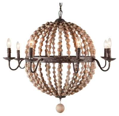 Ashley Home Accents Wooden Beaded Chandelier, Natural