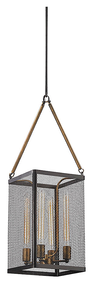 Donovan Chandelier in Wrought Iron Black And Antique Gold Finish, , large