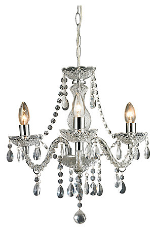 Three Light Clear Mini Chandelier, , large